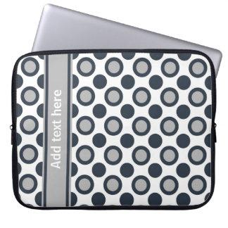 Personalized Laptop Sleeve:Black Silver Polka Dots Laptop Sleeve