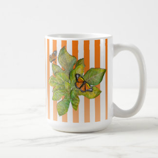 Personalized Large Mug with Butterflies & Leaves