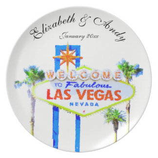 Personalized Las Vegas Wedding Commemorative Plate