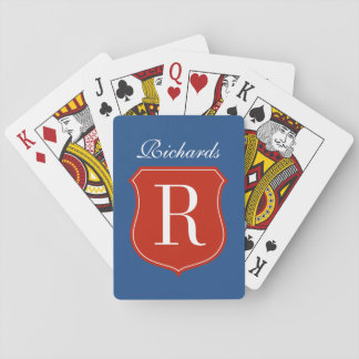 Personalized last name monogram playing cards