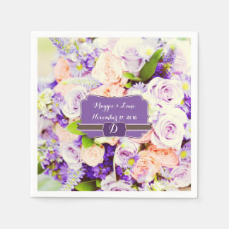 Personalized Lavendar Floral Wedding Napkins Paper Napkins