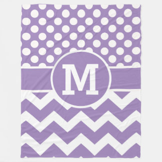 Personalized Lavender Chevron Polka Dots Pattern Fleece Blanket