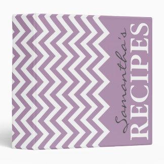 Personalized lavender purple chevron recipe binder