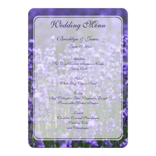 Personalized Lavender Wedding Menu Card