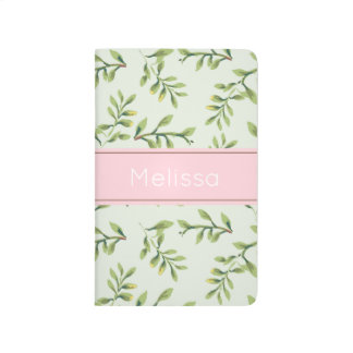 Personalized Leaves Print Pocket Journal