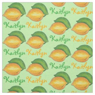Personalized Lemon Lime Fruit Green Yellow Fabric