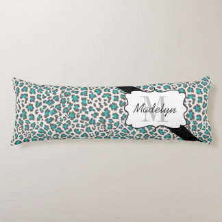 Personalized Leopard Aqua Gray White Body Pillow