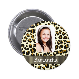 Personalized leopard print 2 inch round button