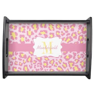 Personalized Leopard Print Pink and Yellow Tray Service Tray