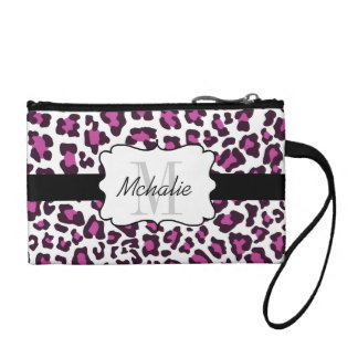 Personalized Leopard Print Purple Black White Bag Coin Wallet