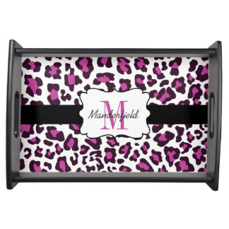Personalized Leopard Print Purple Black White Tray Serving Platter
