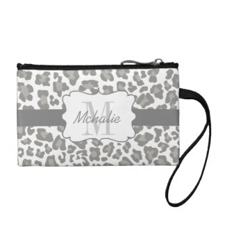 Personalized Leopard Print White and Gray Bag Change Purse