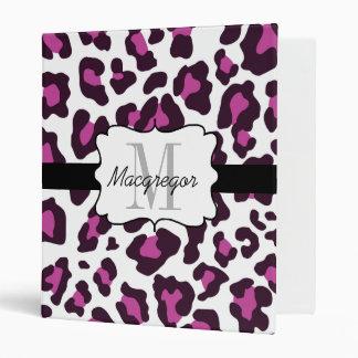Personalized Leopard Purple Black White Binder