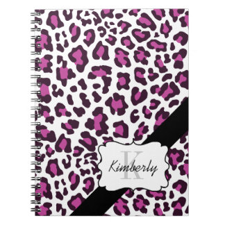 Personalized Leopard Purple Black White Notebook