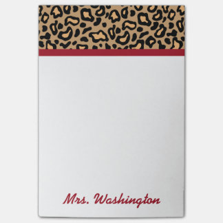 Personalized Leopard Teacher's Post It Notes Gift