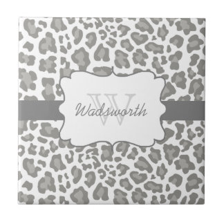 Personalized Leopard White and Gray Ceramic Tile