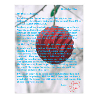 Personalized Letter from Santa Tweens Red Ornament Letterhead Template