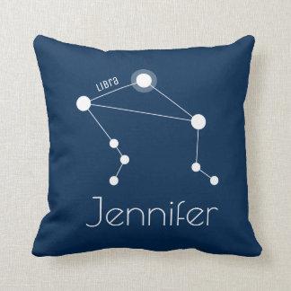 Personalized Libra Zodiac Constellation Throw Pillow