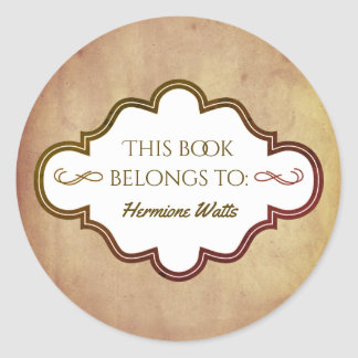 Personalized Library Bookplate Vintage Parchment Classic Round Sticker
