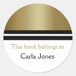 Personalized  Library Bookplates | Gold Glitter Round Sticker
