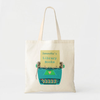 Personalized Library Books Cute Aqua Typewriter Tote Bag