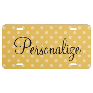 Personalized license plate with polka dot pattern
