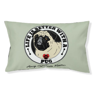 Personalized Life Is Better With A Pug Small Dog Bed