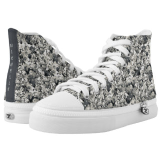 Personalized Life of flowers b/w pattern design High Tops