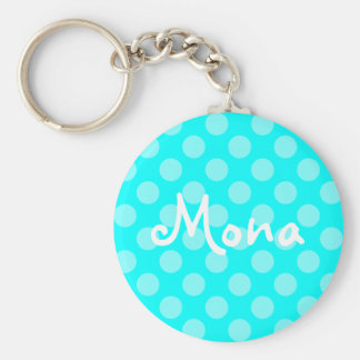 Personalized Light Aqua Polka Dot Keychain
