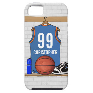 Personalized Light Blue Orange Basketball Jersey iPhone 5 Case