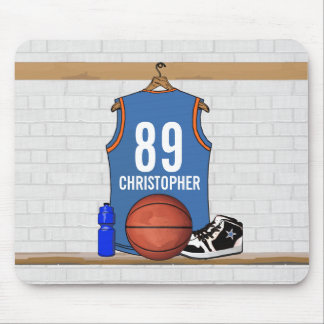 Personalized Light Blue Orange Basketball Jersey Mouse Pad