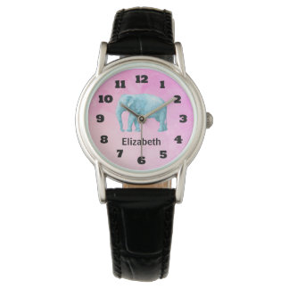 Personalized Light Blue Watercolor Elephant Wristwatches