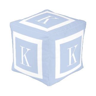 Personalized Light Blue White Monogram Pouf