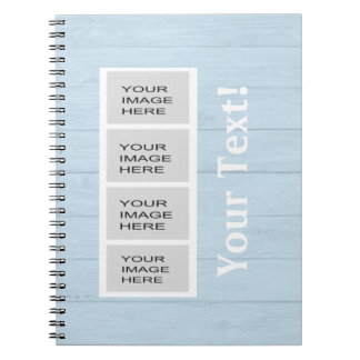 Personalized Light Blue Wood Photo Booth Notebooks