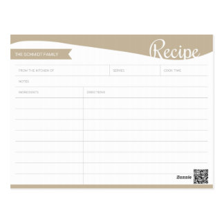 Personalized Light Brown & White Recipe Card Postcard