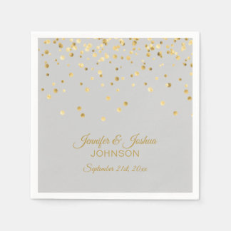 Personalized Light Grey Gray Gold Confetti Wedding Napkin
