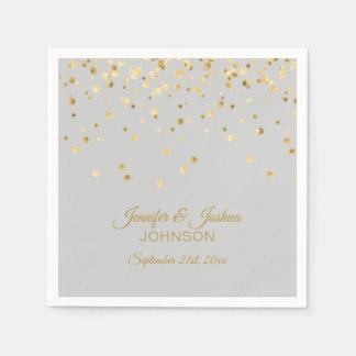 Personalized Light Grey Gray Gold Confetti Wedding Napkin