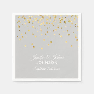 Personalized Light Grey Gray Gold Confetti Wedding Paper Napkin