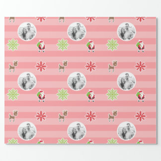 Personalized Light Red Christmas Character Design Wrapping Paper