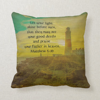 Personalized Lighthouse Sunset Bible Verse Pillow