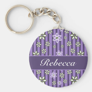 personalized Lilac Amethyst green floral pattern Basic Round Button Keychain