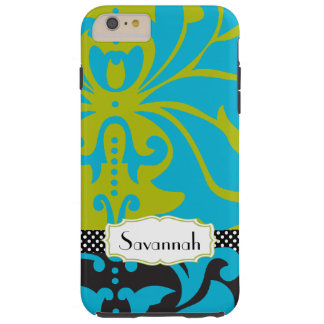 Personalized Lime Aqua Gold Damask iPhone 4 Case