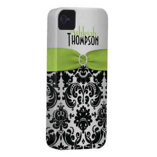 Personalized Lime, Black, Silver Damask iPhone 4 Case-Mate Cases