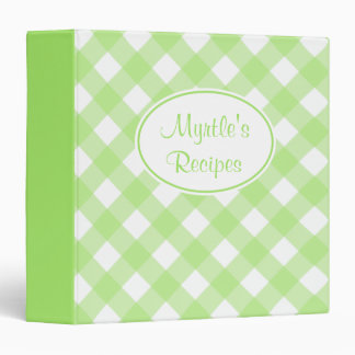 Personalized Lime Gingham Recipe Binder