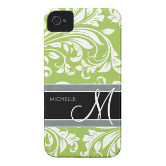 Personalized Lime Green and White Damasked Pattern iPhone 4 Cover