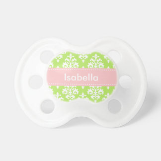 Personalized Lime Green Pink Baby Girl Pacifier