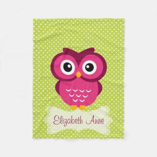 Personalized Lime Polka Dot Pink Owl Fleece Blanket