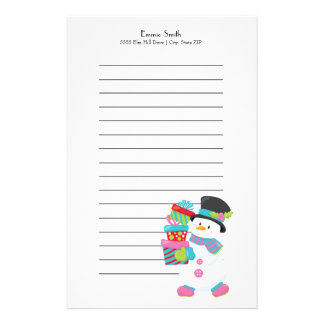 Personalized Lined Christmas Gift Snowman Stationery