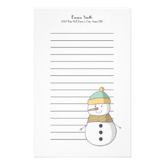 Personalized Lined Christmas Happy Snowman Stationery