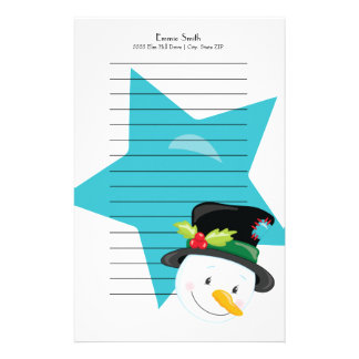 Personalized Lined Christmas Snowman Blue Star Stationery